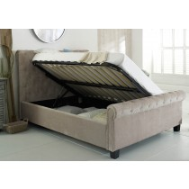 Flair Furnishings Lola Fabric Ottoman Bed Mink-