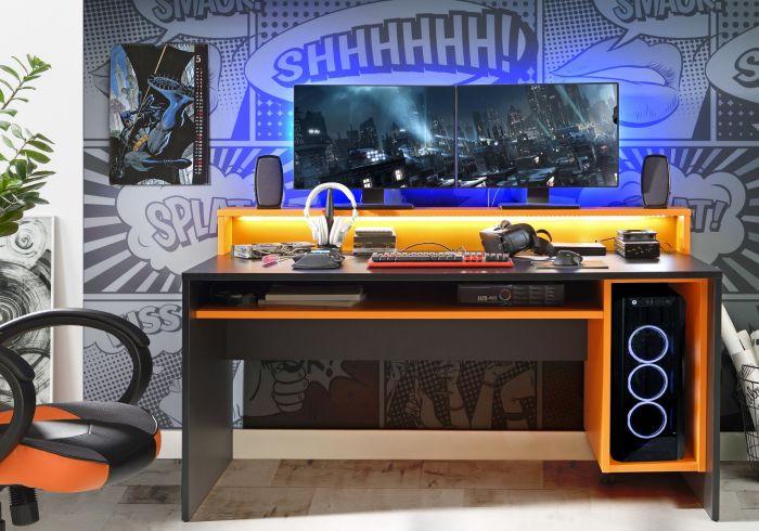 Flair Furnishings Power Y LED Gaming Desk Orange and Black