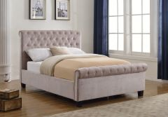 Flair Furnishings Lola Fabric Upholstered Sleigh Bed Mink