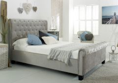 Flair Furnishings Lola Upholstered Sleigh Fabric Bed Silver