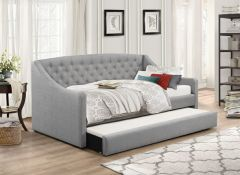 Flair Furnishings Aurora Fabric Daybed With Trundle Grey