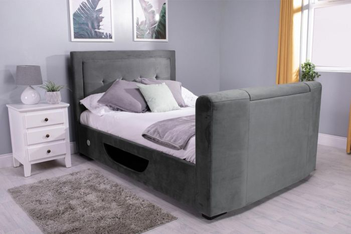 Flair Furnishings Juliet Side Lift Ottoman TV Bed Silver Velvet